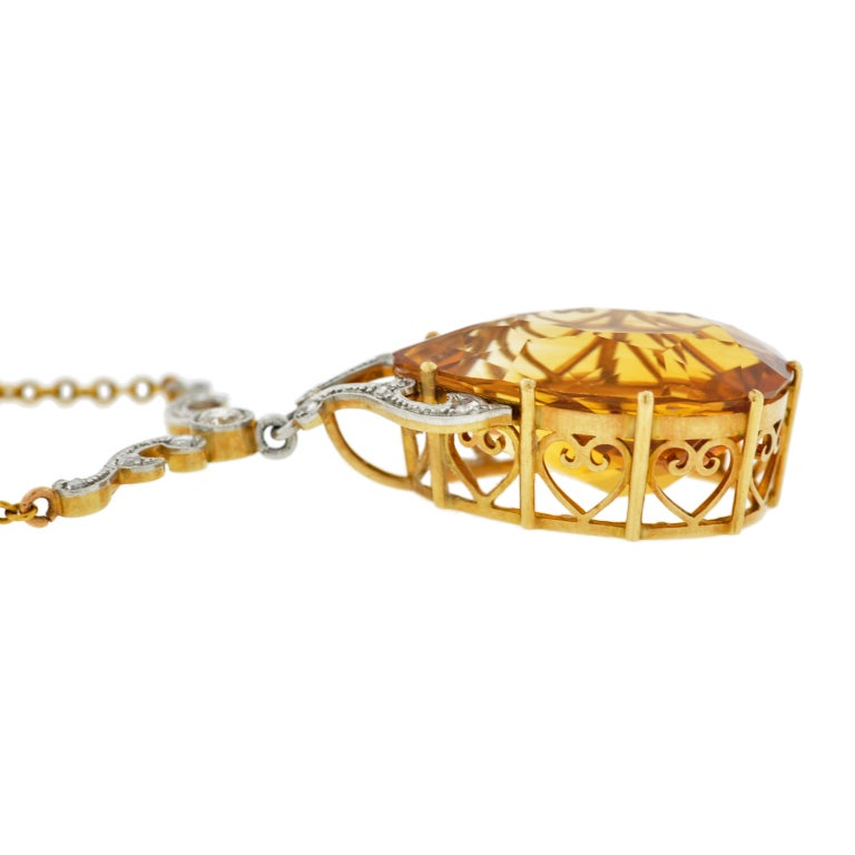 Late Art Deco Citrine Drop & Diamond Gold Necklace 6