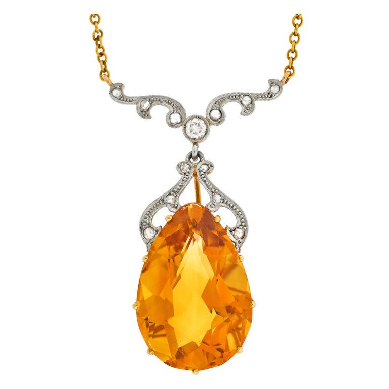 Late Art Deco Citrine Drop & Diamond Gold Necklace 1