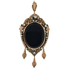 Victorian 15kt Diamond & Pearl Wreathed Gold Locket