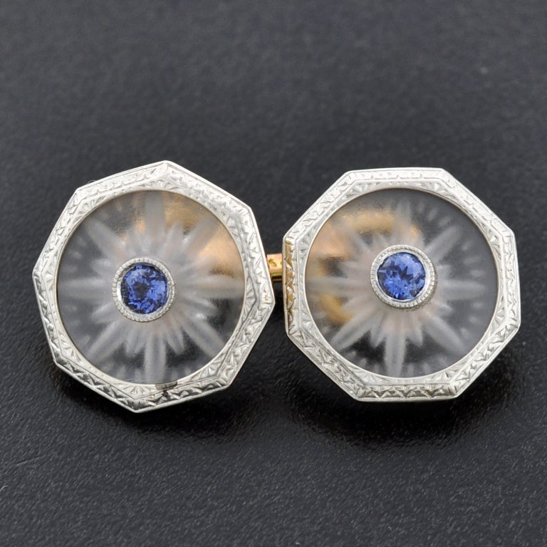 KREMENTZ Rock Quartz Crystal & Sapphire Platinum Top Cufflinks image 2
