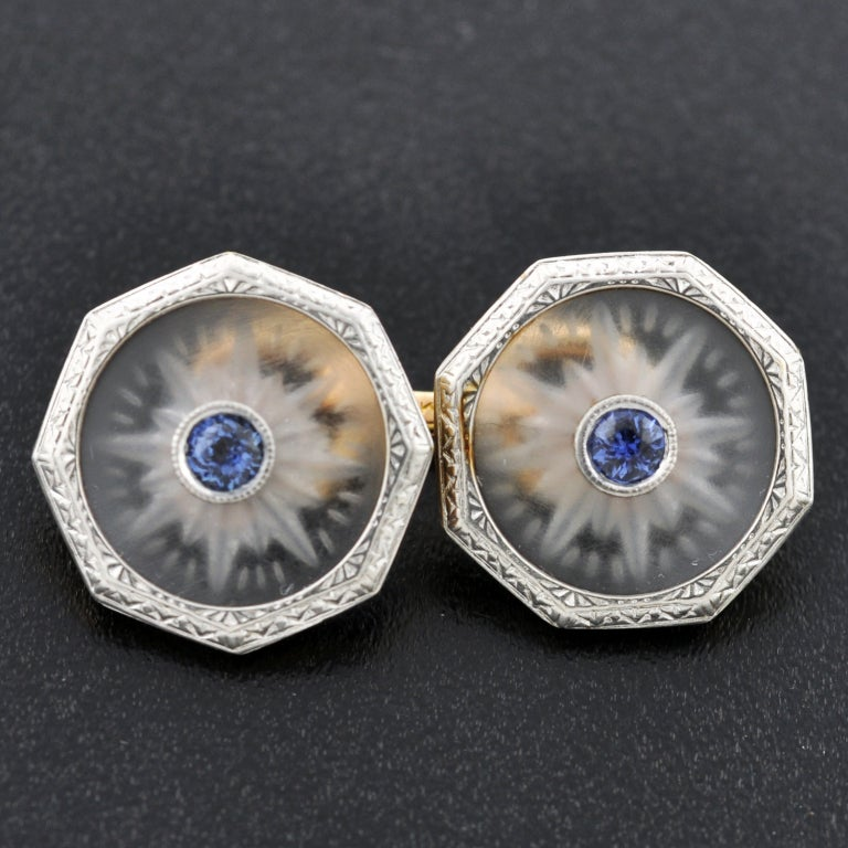 KREMENTZ Rock Quartz Crystal & Sapphire Platinum Top Cufflinks image 3