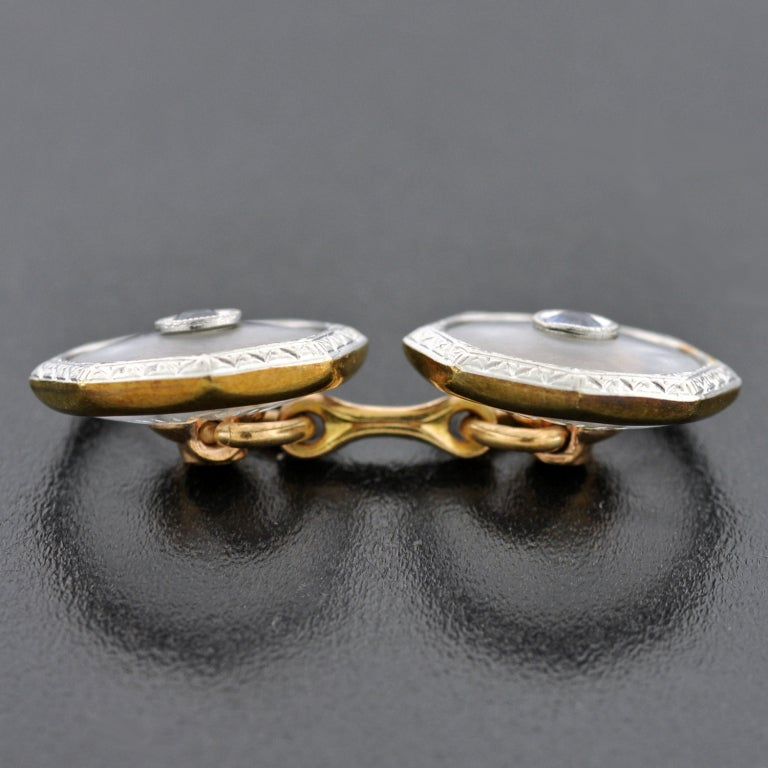 KREMENTZ Rock Quartz Crystal & Sapphire Platinum Top Cufflinks image 4