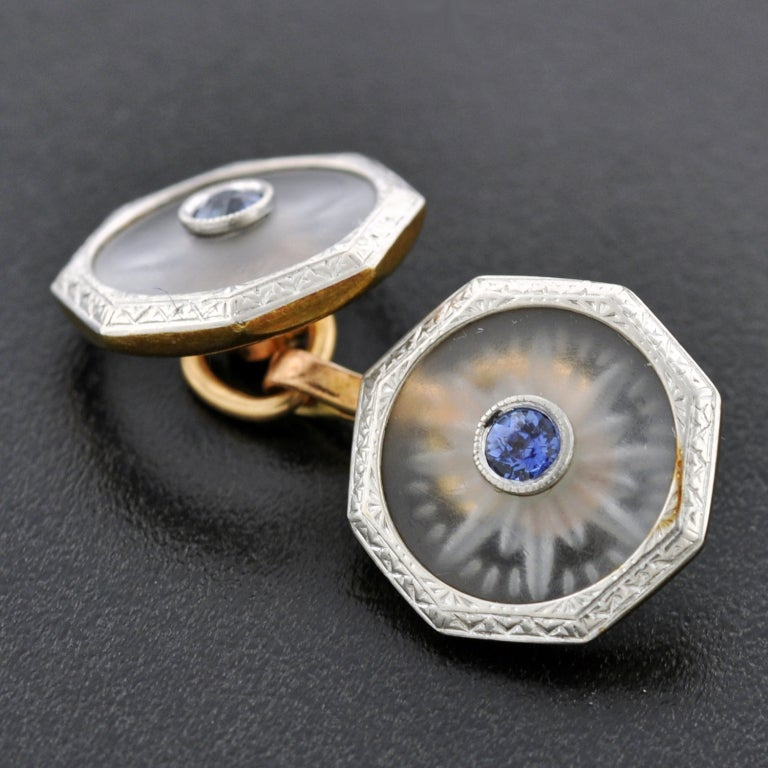 KREMENTZ Rock Quartz Crystal & Sapphire Platinum Top Cufflinks image 5