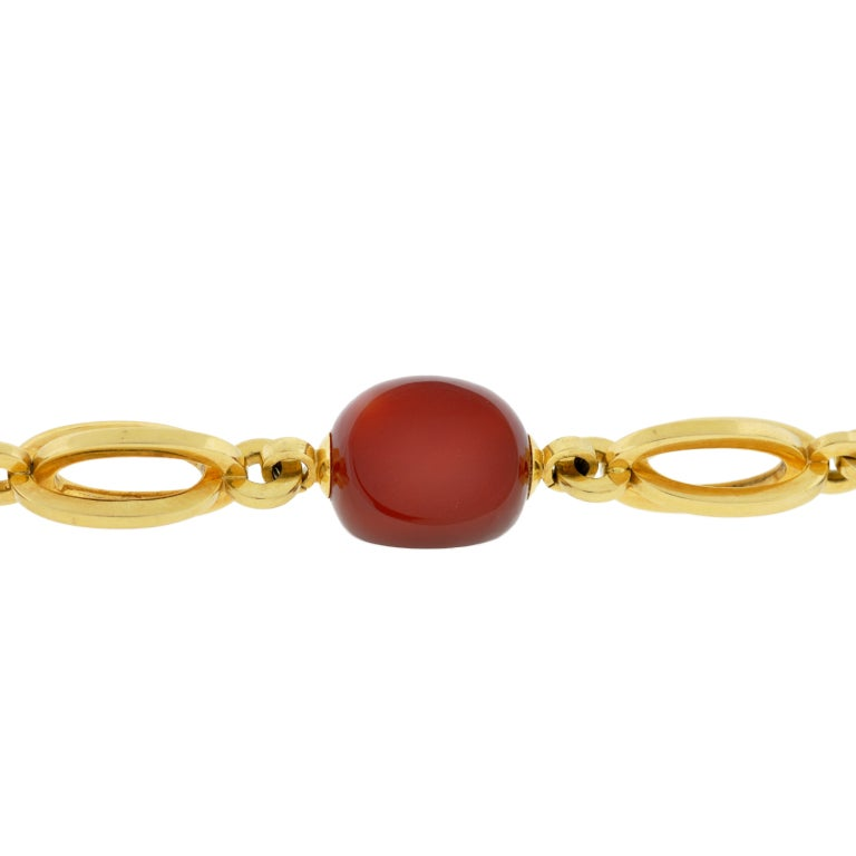 contemporary carnelian and gold link bracelet at 1stdibs