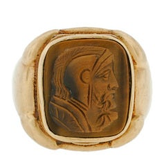 Victorian Carved Tiger's Eye Cameo Locket Ring