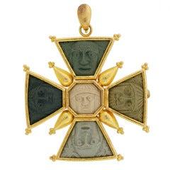 ELIZABETH LOCKE Carved Lava Cameo Maltese Cross Pendant/Pin