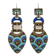 Late Art Deco Theodor Fahrner Enamel & Topaz Sterling Earrings