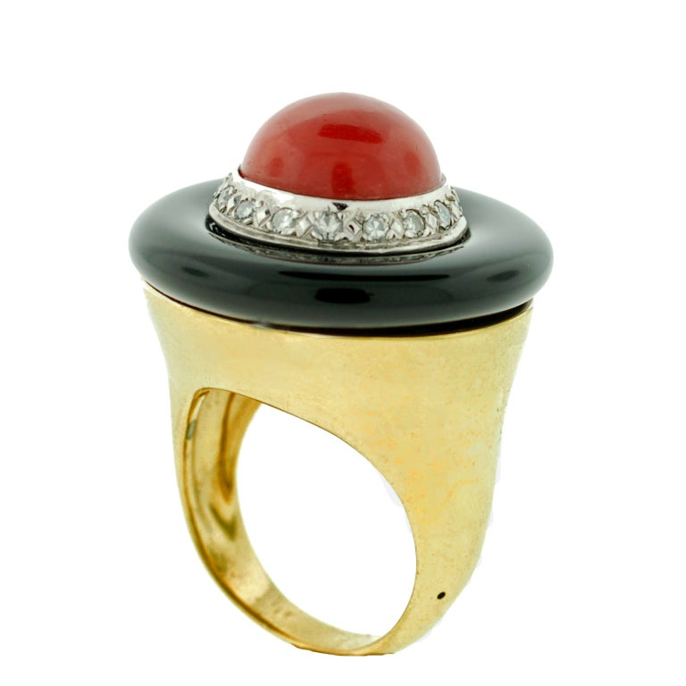 Large Diamond, Onyx & Coral Gold Ring 5