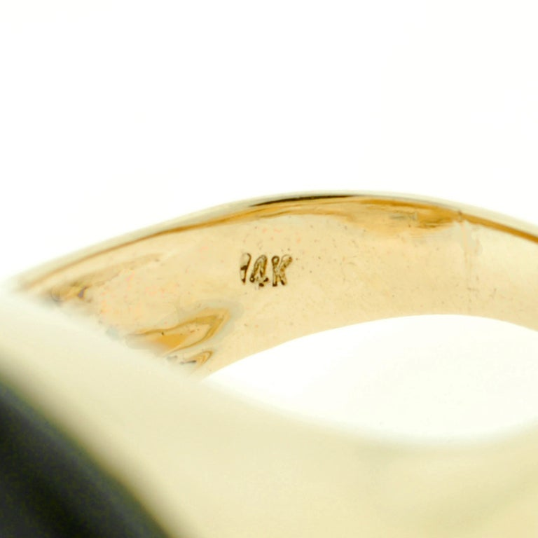 Large Diamond, Onyx & Coral Gold Ring 7