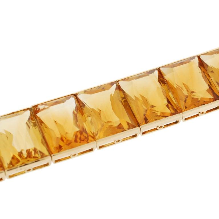 Women's Art Deco French Vibrant Citrine Link Bracelet For Sale