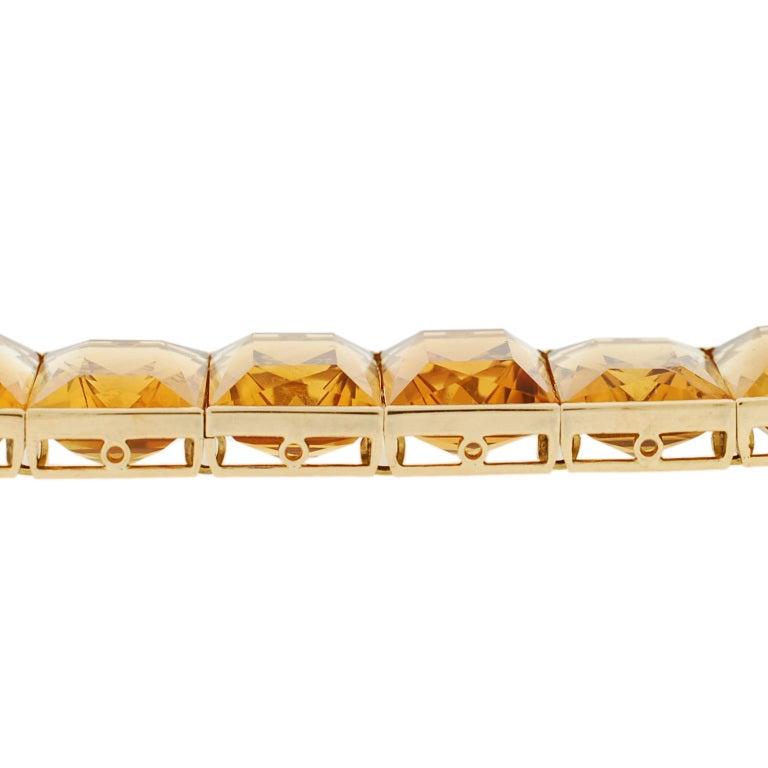 Art Deco French Vibrant Citrine Link Bracelet For Sale 1