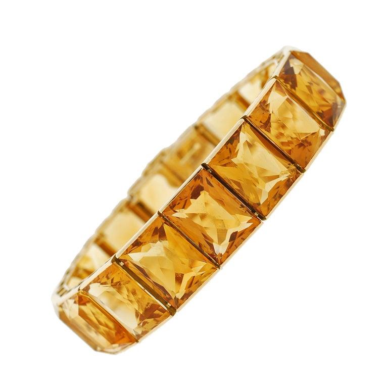 Art Deco French Vibrant Citrine Link Bracelet