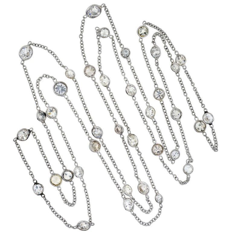 Art Deco Diamonds By The Yard Chain Necklace 9ctw At 1stdibs