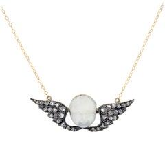 Victorian Hand Carved Cherub Moonstone and Diamond Pendant Necklace