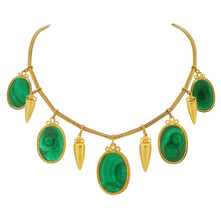 Victorian Malachite & Gold Urn Necklace