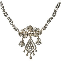 Georgian Rose Cut Diamond Pin & Necklace Set