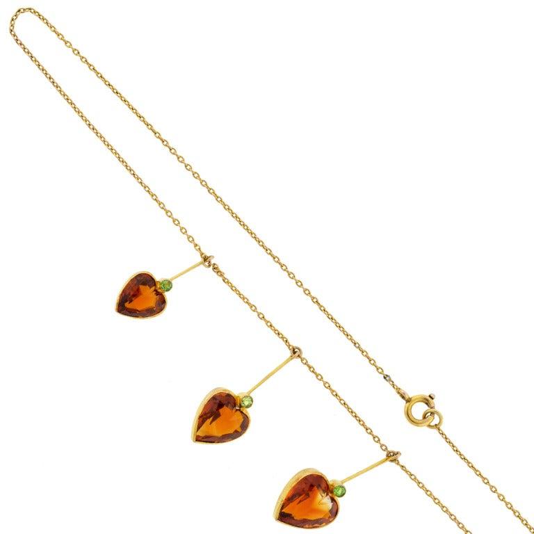 Art Nouveau Madeira Citrine & Demantoid Heart Necklace 2
