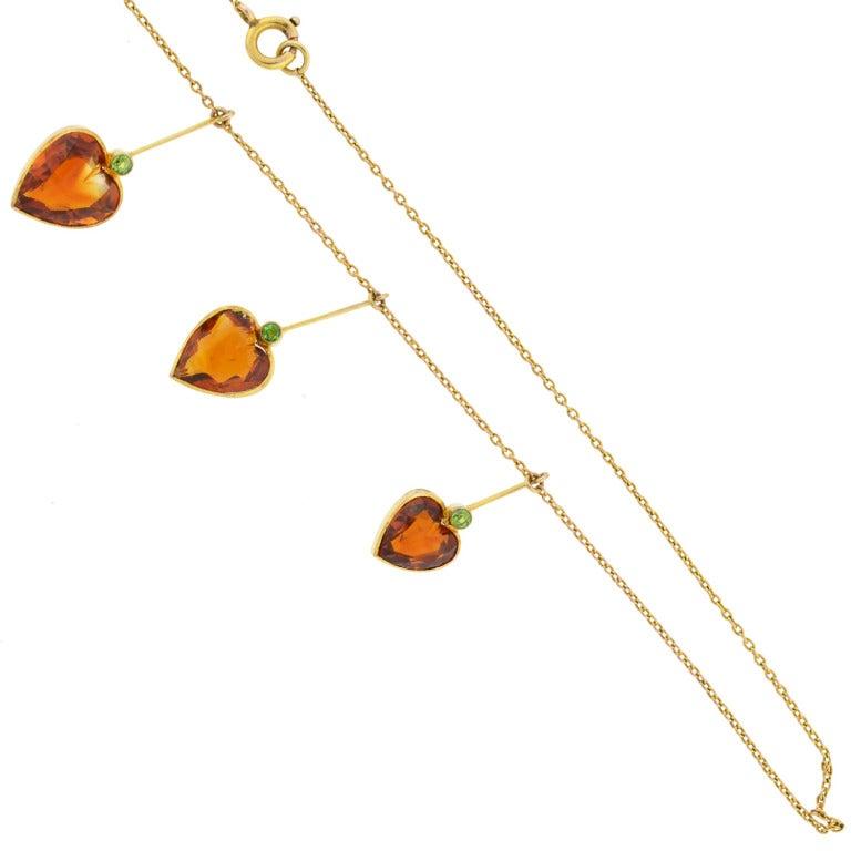 Art Nouveau Madeira Citrine & Demantoid Heart Necklace 3