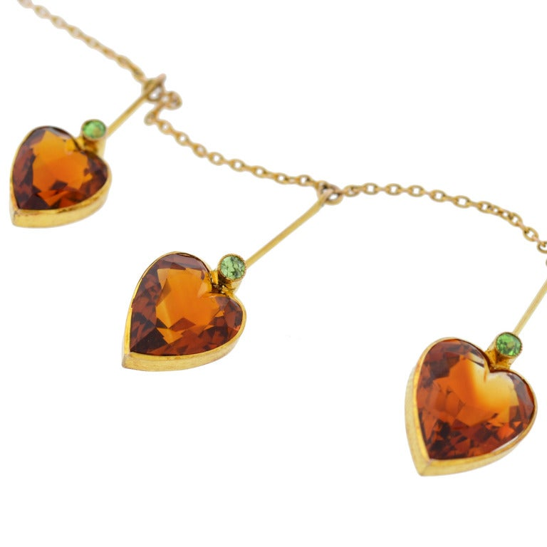 Art Nouveau Madeira Citrine & Demantoid Heart Necklace 4