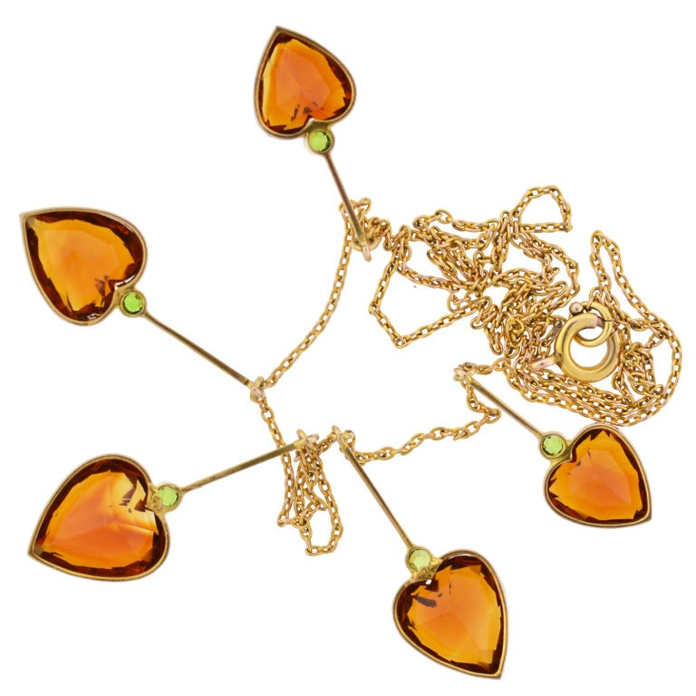 Art Nouveau Madeira Citrine & Demantoid Heart Necklace 7