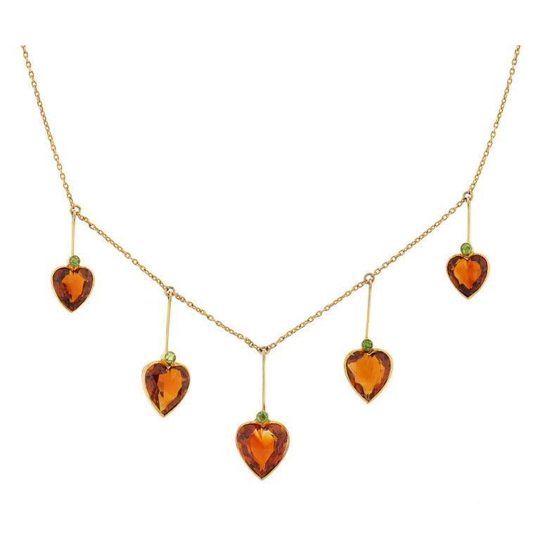 Art Nouveau Madeira Citrine & Demantoid Heart Necklace 1