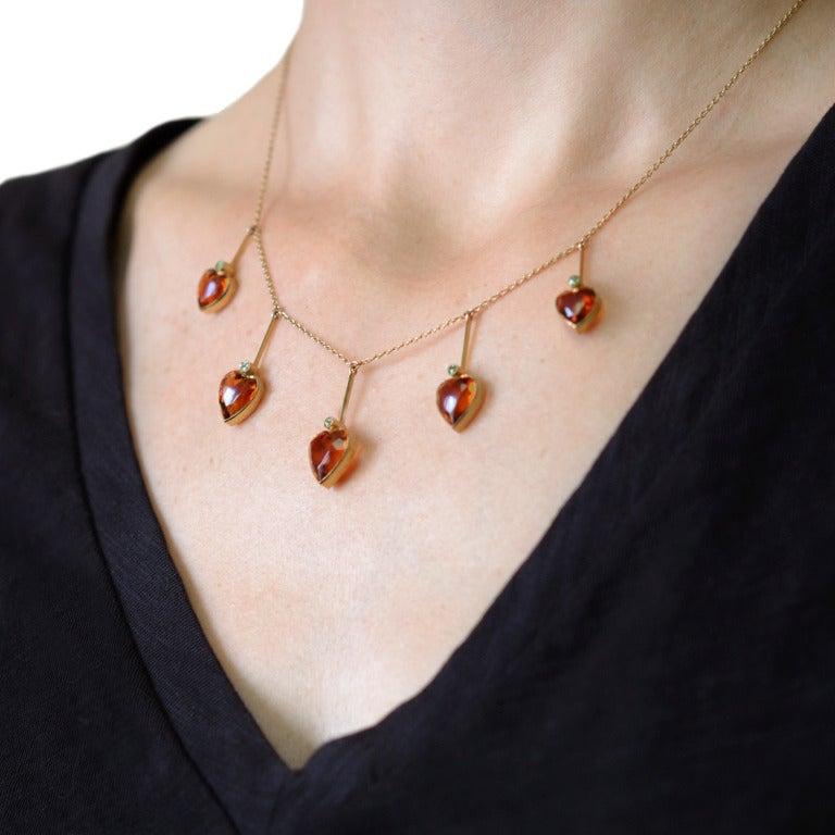 Art Nouveau Madeira Citrine & Demantoid Heart Necklace 8
