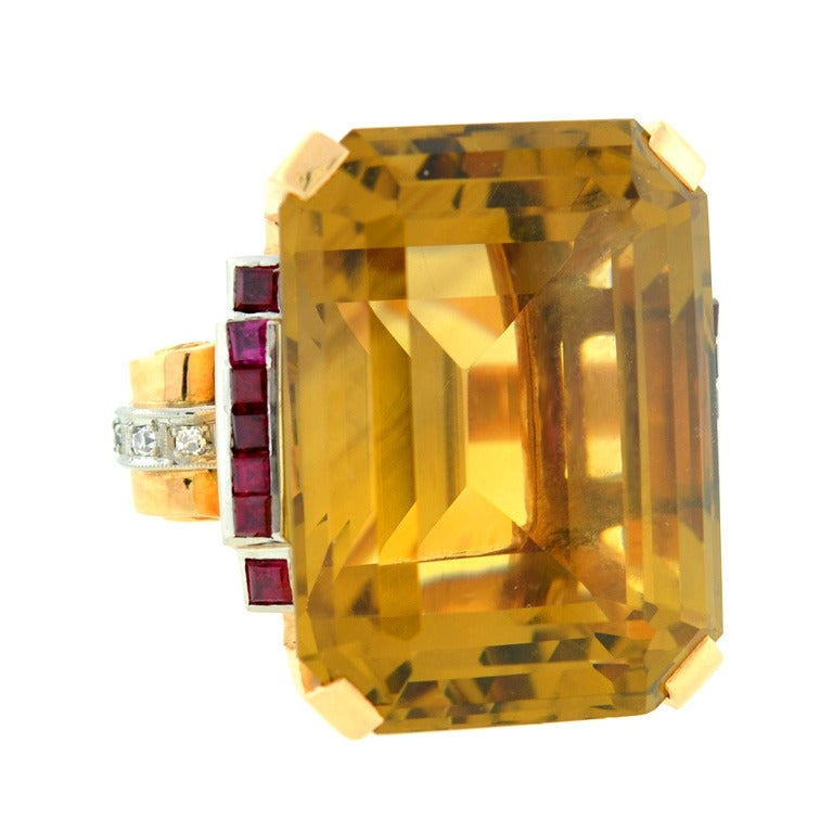 Retro 70.00 Carat Citrine Ruby Cocktail Ring