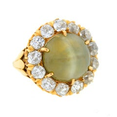 Victorian Striking Cat's Eye Chrysoberyl Diamond Ring