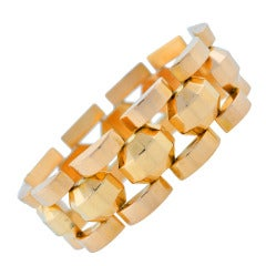 Retro French Gold Faceted Link Bracelet