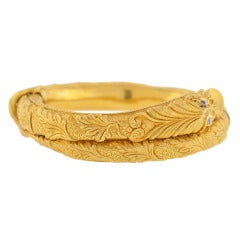 Victorian Hand Wrought Serpent Bangle Bracelet with Diamonds