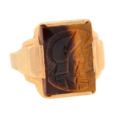 Victorian Tiger's Eye Carved Roman Soldier Ring