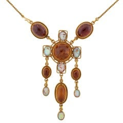 Art Nouveau Egyptian Revival Amber Opal Gold Necklace