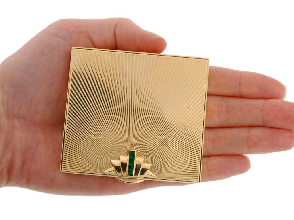 ce74a3d7e Tiffany and Co. Emerald and Gold Powder Compact at 1stdibs