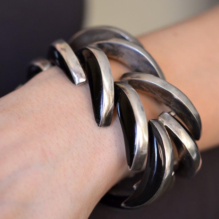 ANTONIO PINEDA Vintage Obsidian Spine Bracelet For Sale 4