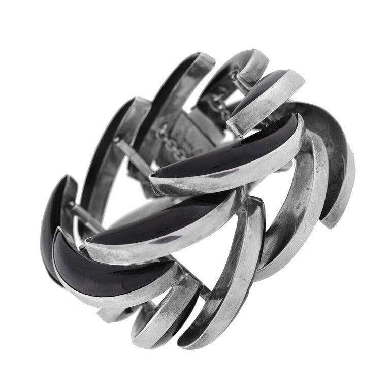 ANTONIO PINEDA Vintage Obsidian Spine Bracelet For Sale