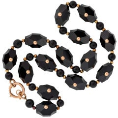 Victorian Hand Carved Onyx Link Necklace