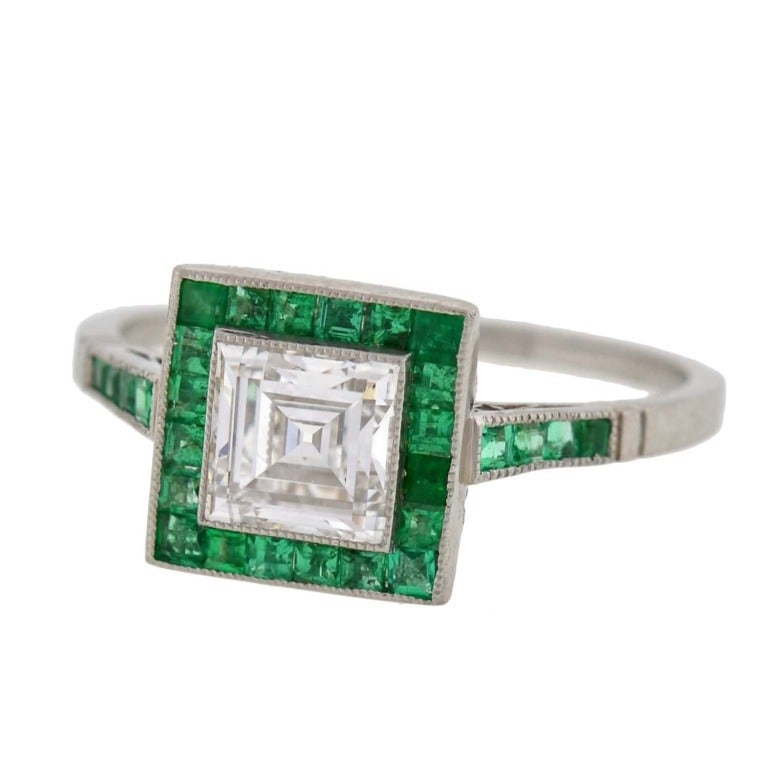 deco emerald and step cut engagement ring 0 85ct at 1stdibs