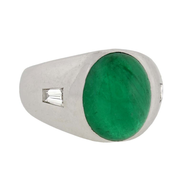 Retro Cabochon Emerald & Diamond Ring 5ct