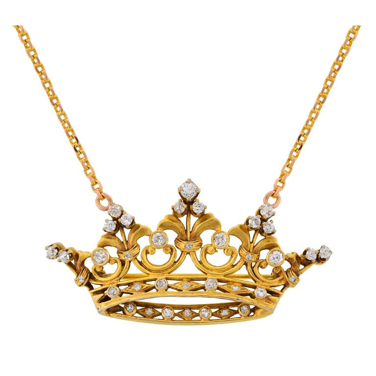 Victorian Diamond Crown Pendant With Chain At 1stdibs