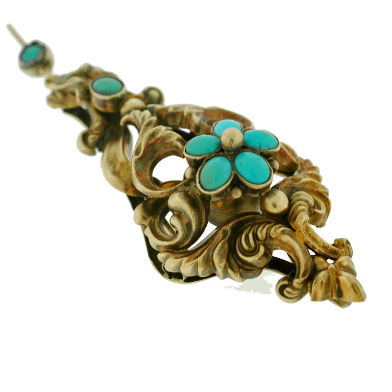 Georgian Large Turquoise And Gold Earrings At 1stdibs