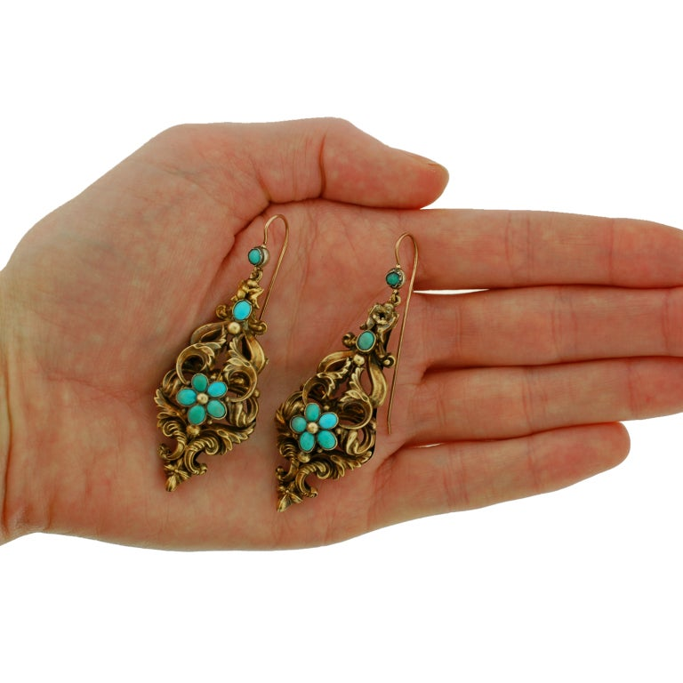 Georgian Large Turquoise And Gold Earrings For Sale At 1stdibs
