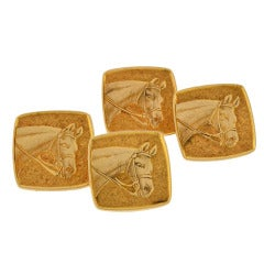 TIFFANY & CO. Retro Double Sided Gold Horse Cufflinks