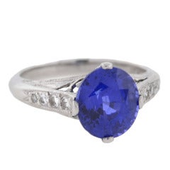 Contemporary Ceylon Sapphire Diamond Ring