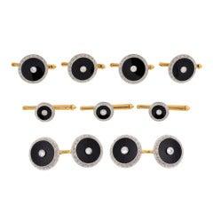 LARTER & SONS Edwardian Onyx & Diamond 9 Piece Cufflink Set