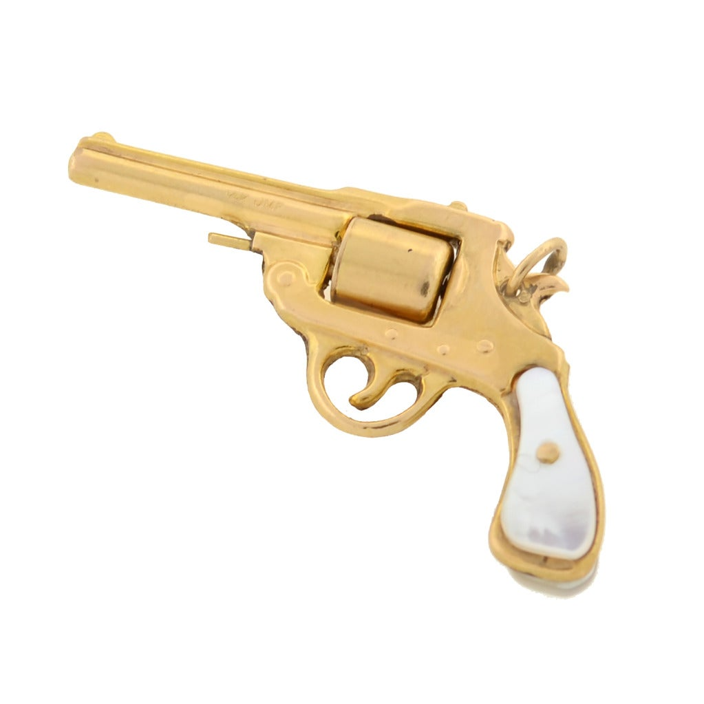 Art deco mother of pearl gold gun pendant at 1stdibs art deco mother of pearl gold gun pendant 3 aloadofball Image collections
