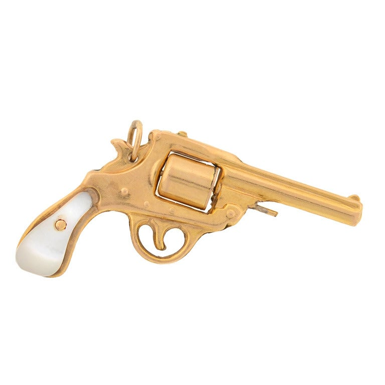 Art deco mother of pearl gold gun pendant at 1stdibs art deco mother of pearl gold gun pendant for sale aloadofball Image collections