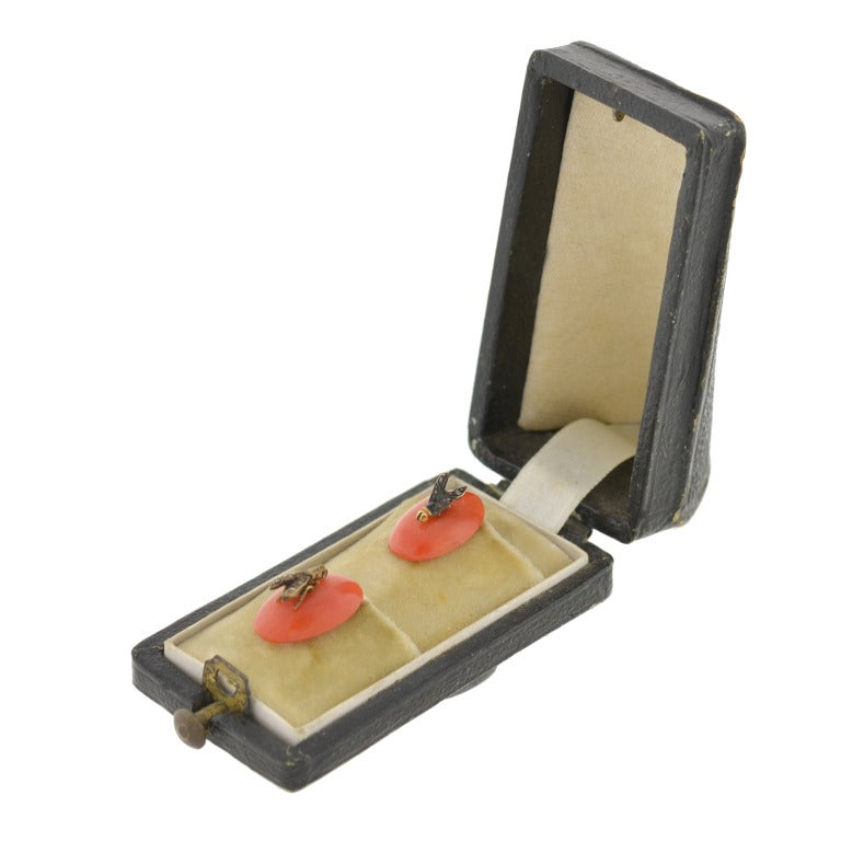 Victorian Coral Rose Cut Diamond Fly Buttons in Original Box For Sale 3