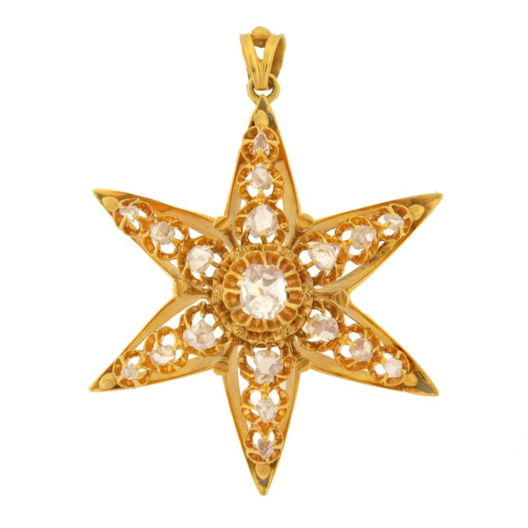 Victorian Rose Cut Diamond Star Pendant