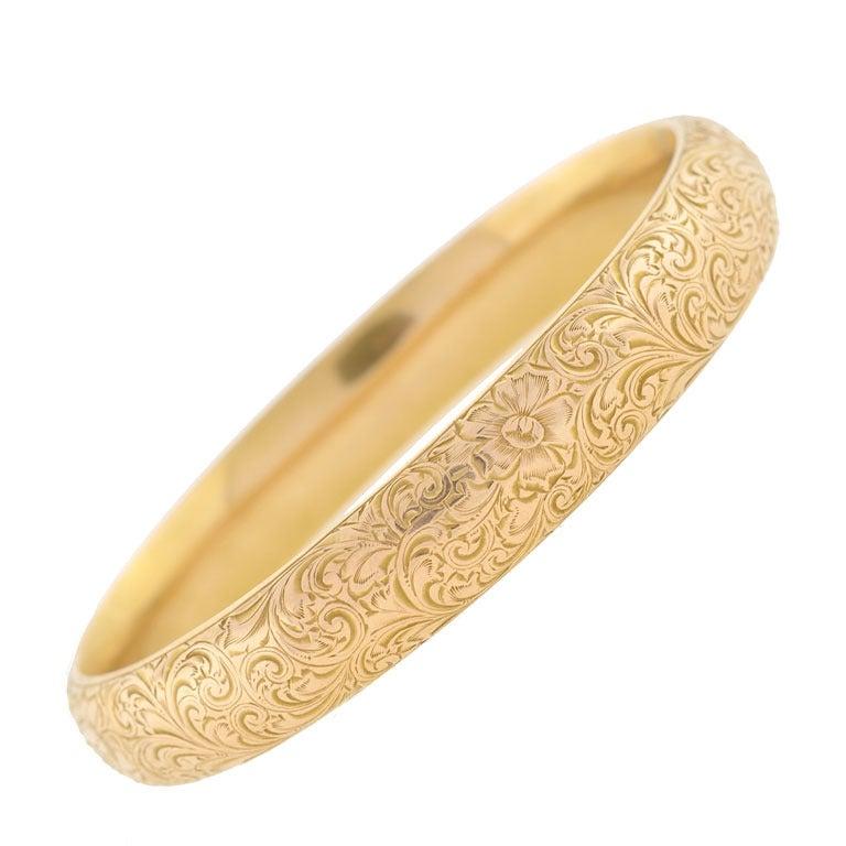 Riker Brothers Art Nouveau Etched Gold Bangle Bracelet For