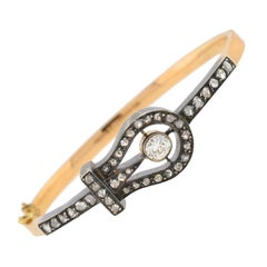 Victorian French Rose Cut Diamond Buckle Bracelet